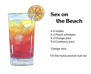 hand drawn watercolor cocktail Sex on the Beach on white backgro