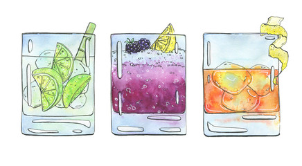 hand drawn set of watercolor cocktails Caipirinha Bramble Rusty