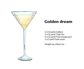 hand drawn watercolor cocktail Golden dream on white background