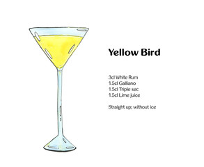 hand drawn watercolor cocktail Yellow Bird on white background