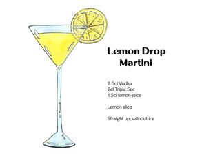 hand drawn watercolor cocktail Lemon Drop Martini on white backg