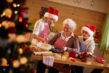 Baking cookies with grandmother on xmas.