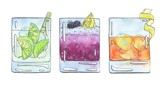 hand drawn set of watercolor cocktails Caipirinha Bramble Rusty