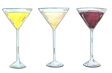 hand drawn set of watercolor cocktails Yellow Bird Golden dream