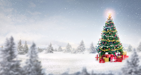 magic Christmas tree in snow outdoor