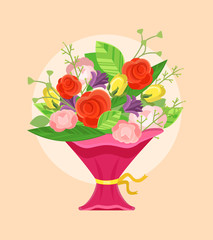 Bouquet of flowers. Vector flat cartoon illustration