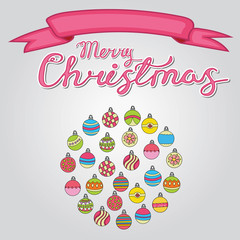 Merry Christmas card background design with decoration balls elements. Greeting card doodle vector illustration with lettering.