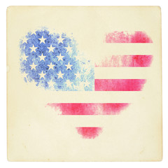 The USA flag in the form of a heart