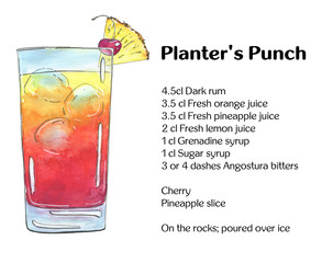 hand drawn watercolor cocktail Planter's Punch on white background