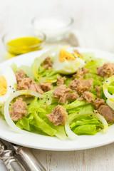fish salad on white plate