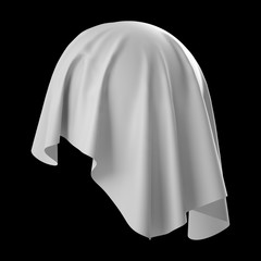 3d abstract white cloth, flying fabric, dynamic textile object isolated on black background