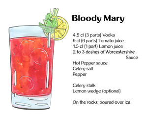 hand drawn watercolor cocktail bloody mary on white background