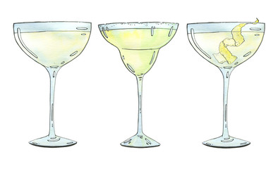 hand drawn set of watercolor cocktails Margarita Vesper on white background