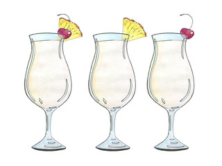 hand drawn watercolor cocktail Pina colada on white background