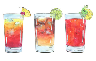 hand drawn set of watercolor cocktails Planter's Punch Dark N Stormy Bloody Mary on white background
