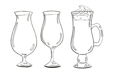 hand drawn set of graphic cocktails on white background