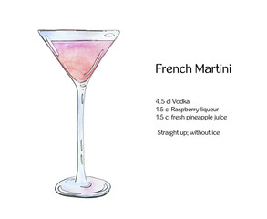hand drawn watercolor cocktail French martini on white background