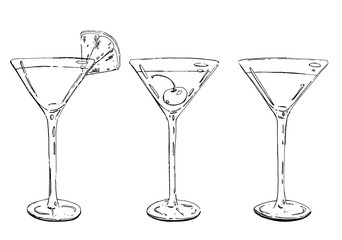 hand drawn graphic cocktails grasshopper cosmopolitan manhattan