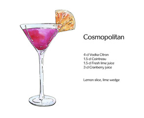hand drawn watercolor cocktail cosmopolitan on white background