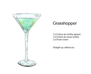 hand drawn watercolor cocktail grasshopper on white background