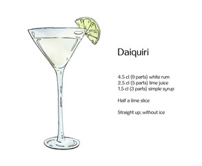 hand drawn watercolor cocktail Daiquiri on white background