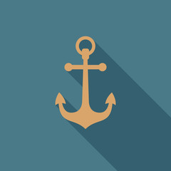 Anchor icon with long shadow. Flat design style. Anchor silhouette. Simple icon. Modern flat icon. Web site page and mobile app design element.
