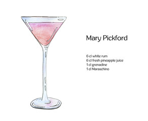 hand drawn watercolor cocktail Mary Pickford on white background