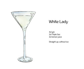hand drawn watercolor cocktail White Lady on white background