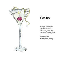 hand drawn watercolor cocktail Casino on white background
