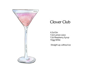 hand drawn watercolor cocktail Clover Club on white background