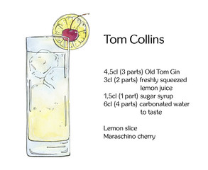 hand drawn watercolor cocktail Tom Collins on white background