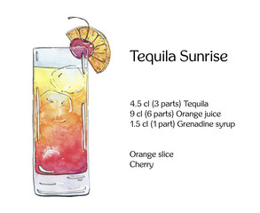 hand drawn watercolor cocktail Tequila Sunrise on white backgrou
