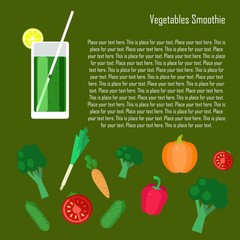 Fruit smoothie collection. Menu element for cafe or restaurant with energetic fresh drink made in flat style. Fresh juice for healthy life. Organic raw shakes.