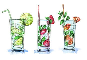 hand drawn set of watercolor cocktails Mojito  on white backgrou