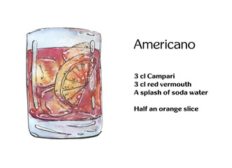 hand drawn watercolor cocktail americano on white background