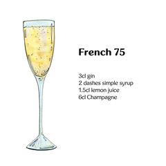 hand drawn watercolor cocktail French 75 on white background
