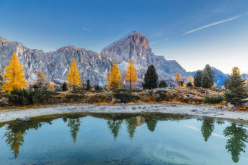 Limides Lake and Mount Lagazuoi in the Dolomites Mountains, Italy