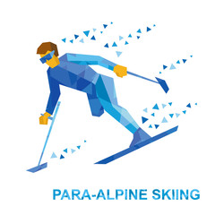 Winter sports - para-alpine skiing. Disabled skier running downhill. Sportsman with physical disabilities ski slope down from the mountain. Flat style vector clip art isolated on white background.