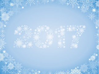 New full-color gradient background with lots of snowflakes and 2