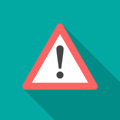Attention sign icon with long shadow. Flat design style. Simple icon. Modern flat icon in stylish colors. Web site page and mobile app design element.