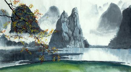 Chinese mountains, fog, lake
