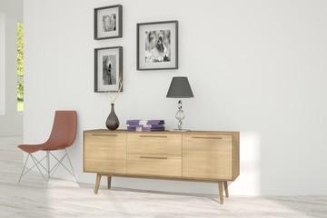 White room with shelf. Scandinavian interior design
