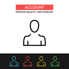 Vector account icon. Thin line icon