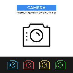 Vector camera icon. Thin line icon