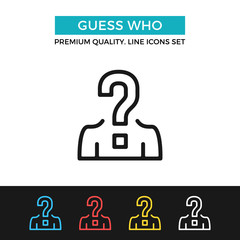 Vector guess who icon. Thin line icon