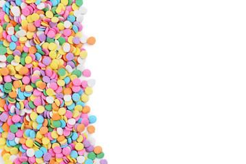 Colorful sprinkles isolated on a white