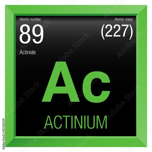 Actinium symbol  Element number 89 of the Periodic Table of
