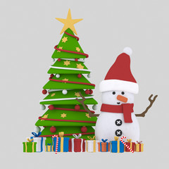 Snowman and Xmas tree.