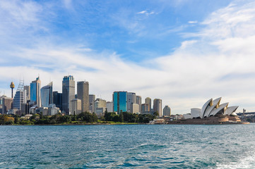 Fototapete - CBD and Opera from the Manly Ferry in Sydney, Australia