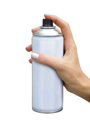 Spray aerosol in female hand
